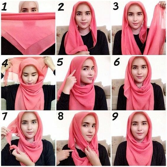 28 Tutorial Hijab Segi Empat Paris Simple Modis Menututp Dada 2020