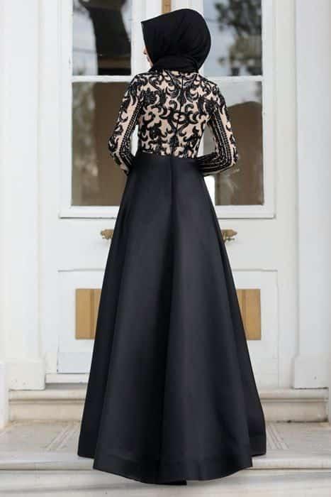 Gaun Hitam Pesta Mewah dan Elegan