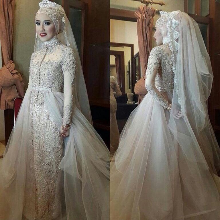 Desain model gaun kebaya pengantin muslim