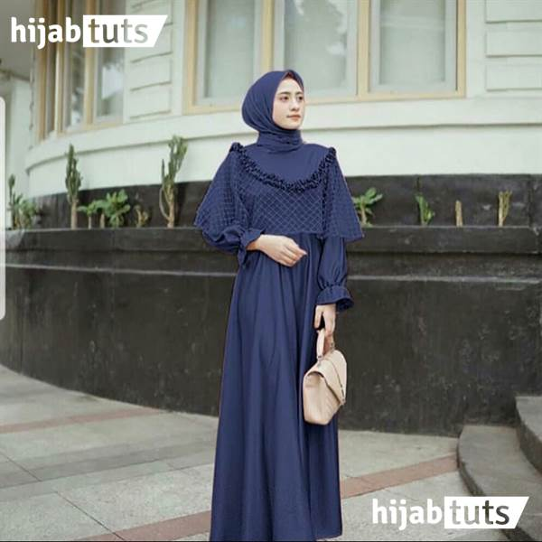 Dress Muslim Pesta Wanita Remaja Biru Navy Dongker