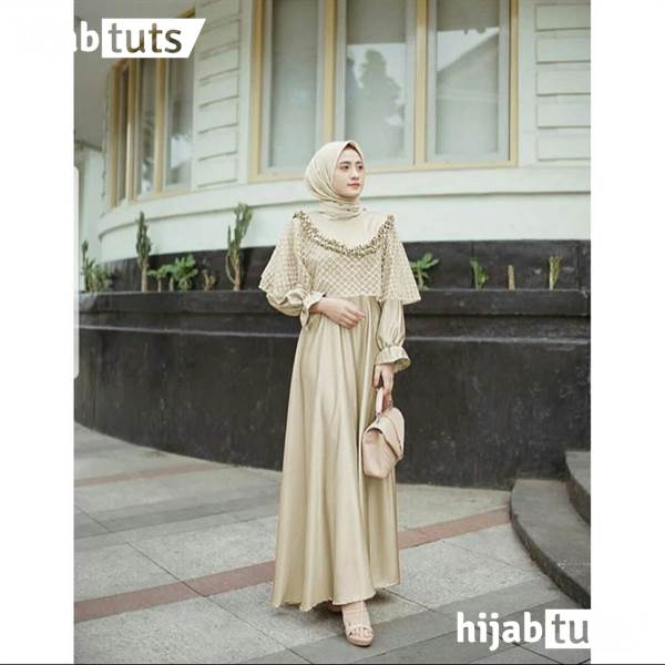 Dress Muslim Pesta Wanita Remaja Cream