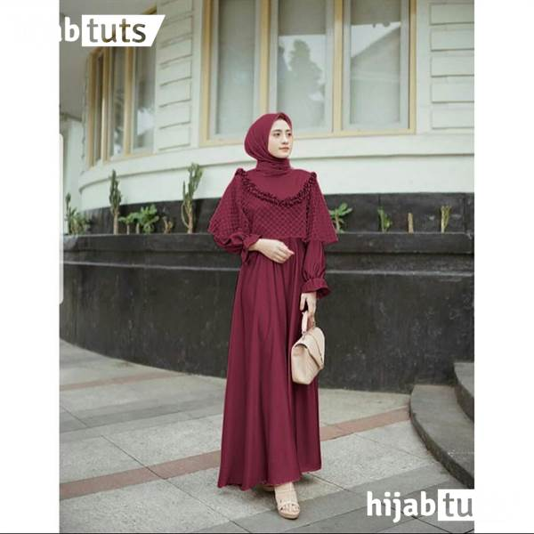 Dress Muslim Pesta Wanita Remaja Merah Maroon
