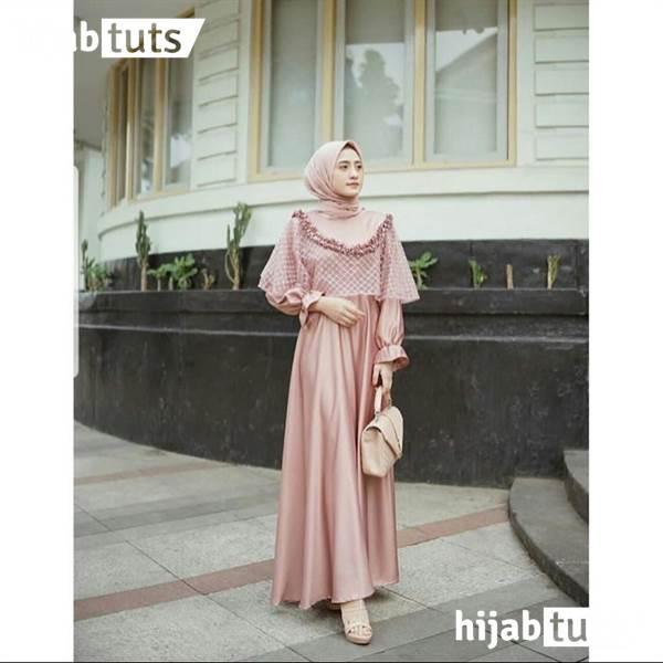 Dress Muslim Pesta Wanita Remaja Merah Muda