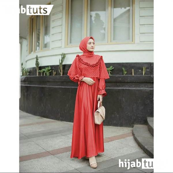 Dress Muslim Pesta Wanita Remaja Orange