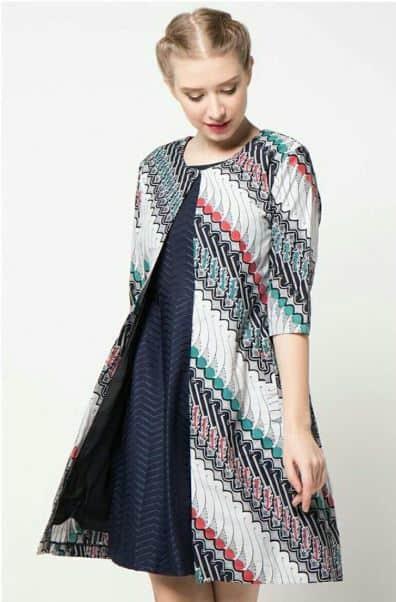 Model Baju Batik Atasan Kombinasi Cardigan