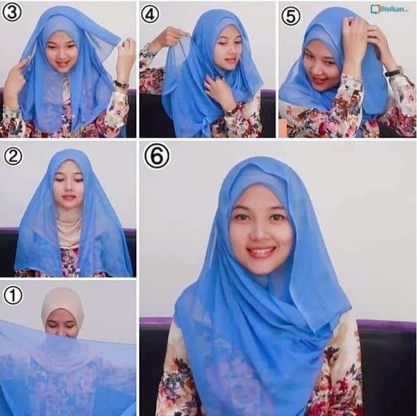 Cara Memakai Jilbab Segi Empat Sehari hari