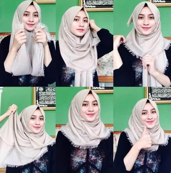 Cara Pakai Hijab Segi Empat Simple