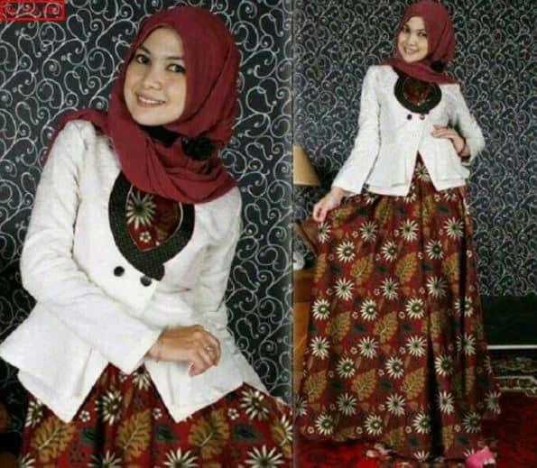 Contoh Gamis Batik Kombinasi Blazer