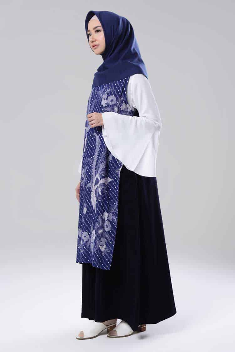 Gamis Batik Biru Tua Model Dress Panjang