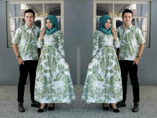 Gamis Batik Kombinasi Couple Pasangan untuk Acara Resmi dan Pesta Cerah