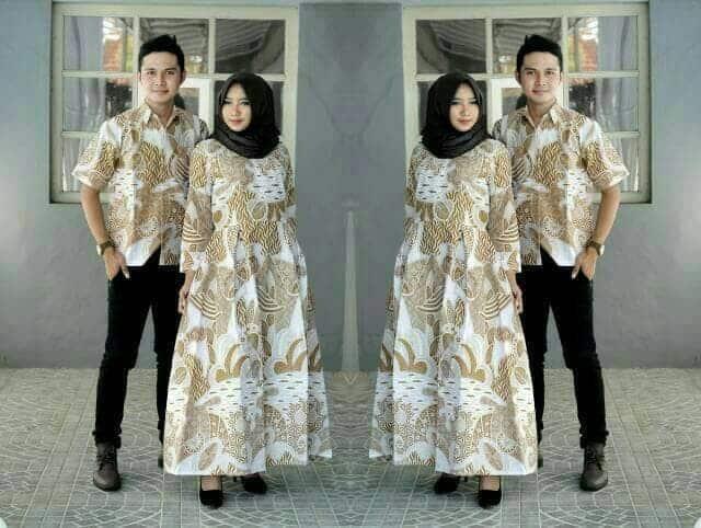 Gamis Batik Kombinasi Couple Pasangan untuk Acara Resmi dan Pesta Cream