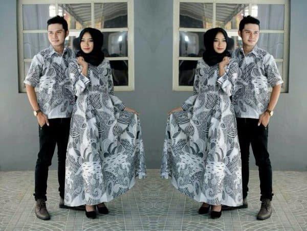 Gamis Batik Kombinasi Couple Pasangan untuk Acara Resmi dan Pesta Putih