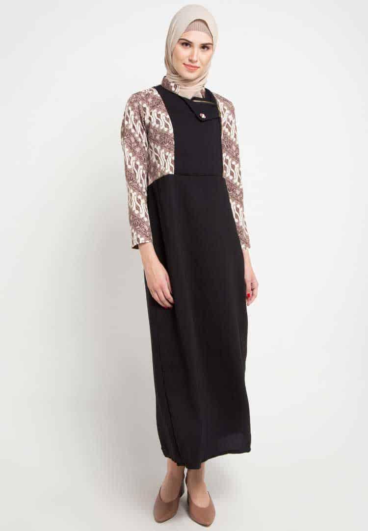 Gamis Batik Kombinasi Keris Polos