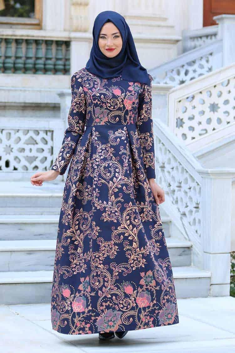 Gamis Batik Kombinasi Warna Full Print