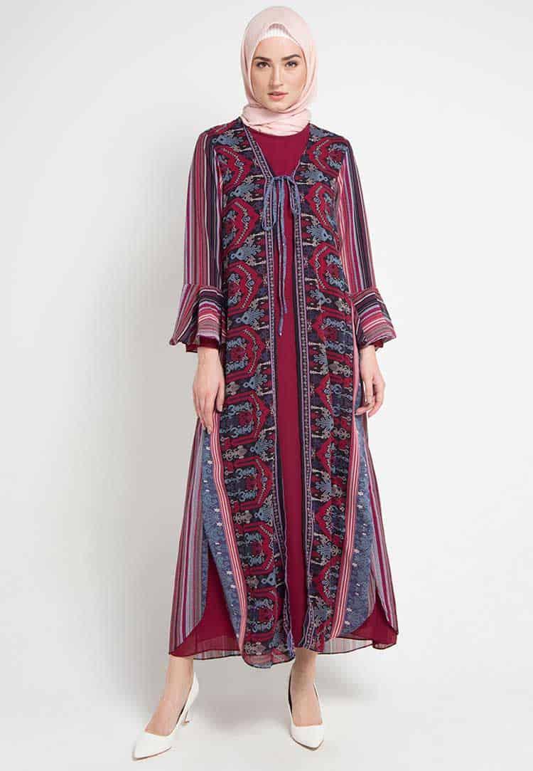 Gamis Batik Kombinasi Warna Solid Cardigan
