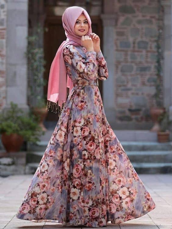 Model Gamis Batik Motif Bunga Bunga