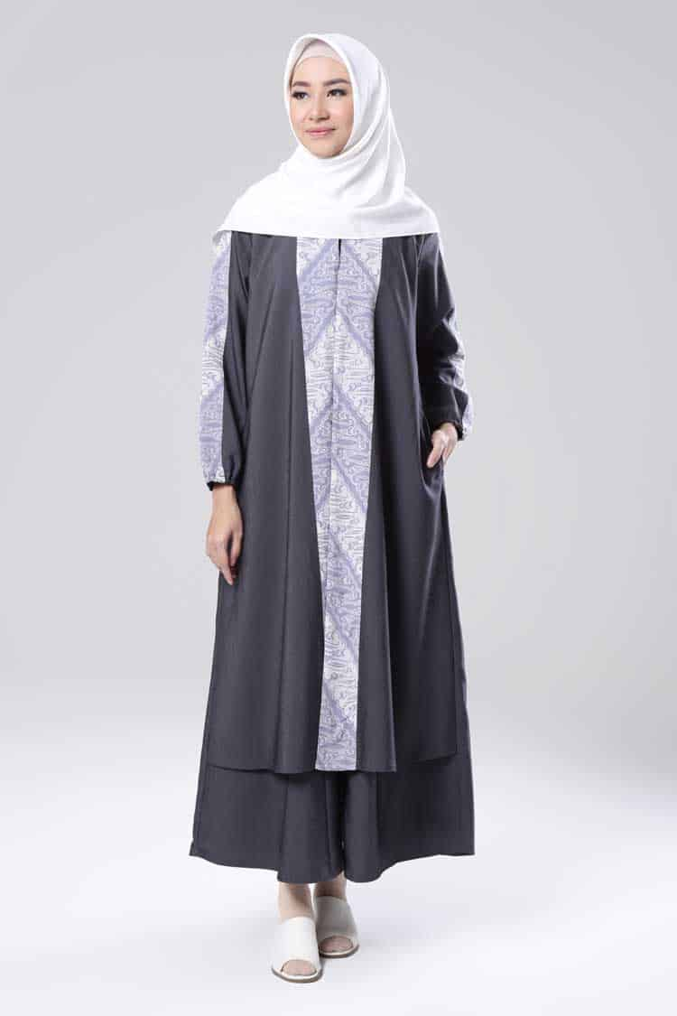 model Gamis Batik Perpaduan Polos