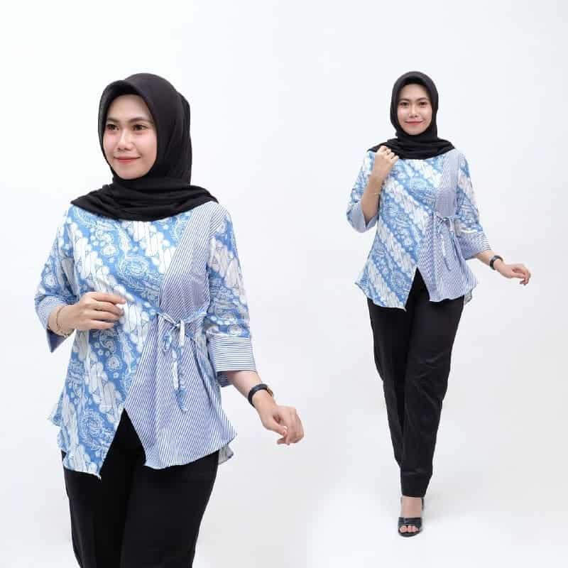 Desain Model Baju Batik Modern Kantoran untuk Wanita Kekinian dan Modis